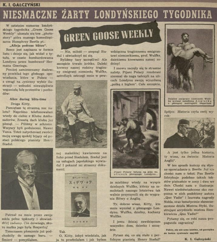 Niesmaczne żarty londyńskiego tygodnika Green Goose Weekly (26 May
