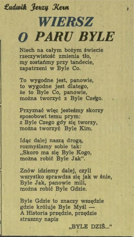 Wiersz O Paru Byle 28 October 1956 Archiwum Przekrój