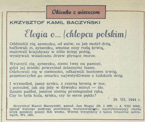 Elegia O Chłopcu Polskim 19 August 1973 Archiwum