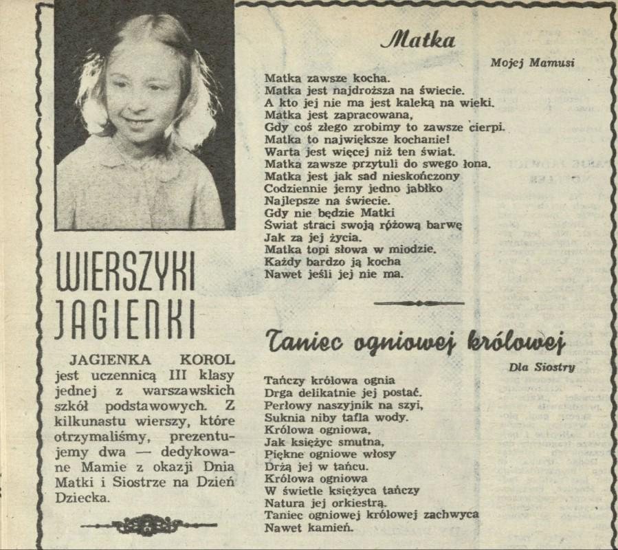 Wierszyki Jagienki 25 May 1986 Archiwum Przekrój Magazine