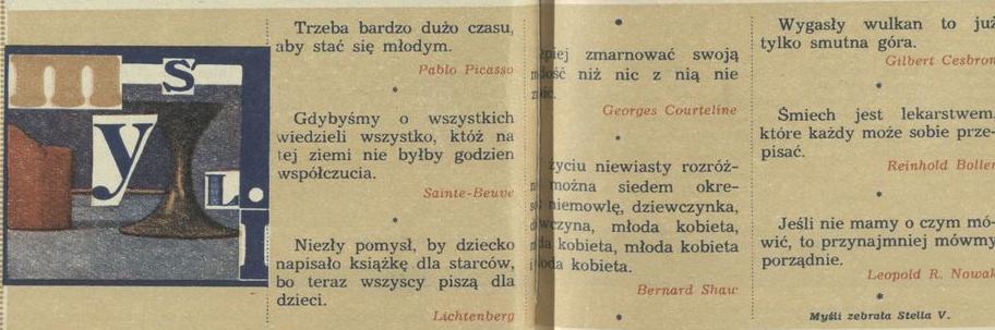Rubryka Myśli Archiwum Rok 1973 Kwartalnik Przekrój