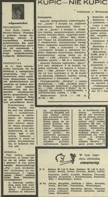 Rubryka Skrzynka odpowiedzi - Archiwum rok 1965 - Kwartalnik
