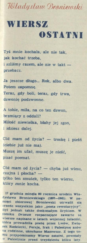 Władysław Broniewski Archiwum Kwartalnik Przekrój