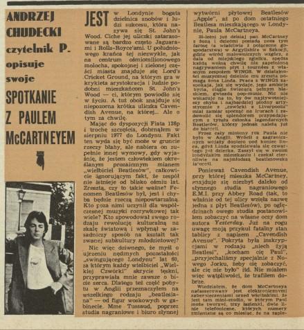 The Beatles Polska: Andrzej Chudecki, czytelnik Przekroju opisuje swoje spotkanie z Paulem McCartneyem.