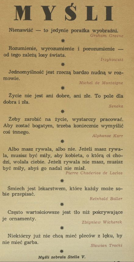 Rubryka Myśli Archiwum Rok 1991 Kwartalnik Przekrój
