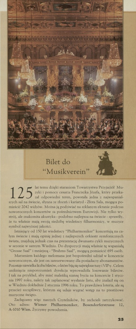 Bilet do Musikverein