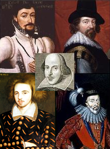 Portraits of: Edward de Vere, Francis Bacon, Christopher Marlowe, William Stanley, William Shakespeare