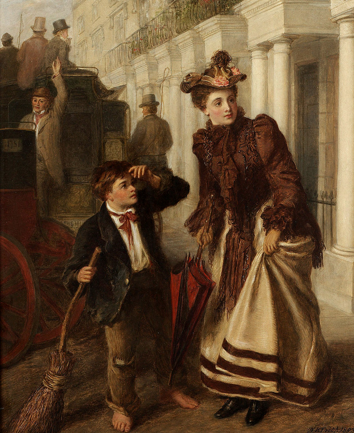 """The Crossing Sweeper"", 1893 r., William Powell Frith ; źródło: Bonhams"