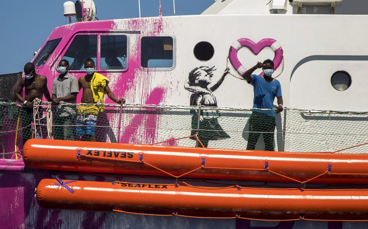Louise Michel, a French patrol boat currently operated by activists and financed by Banksy, in the central Mediterranean, south of Lampedusa